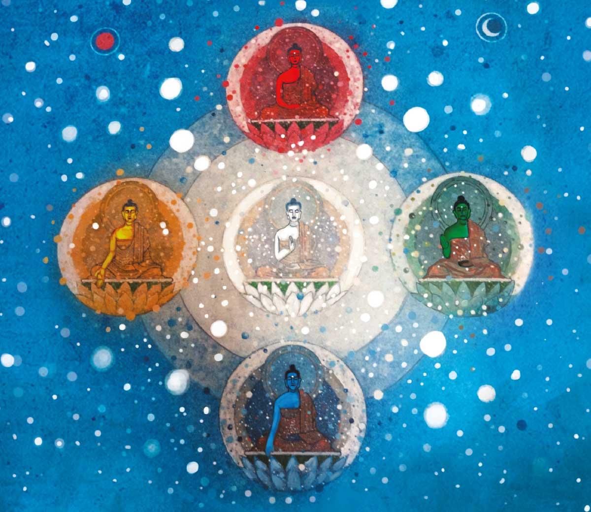 Representación moderna de la mándala tradicional de los cinco Jinas